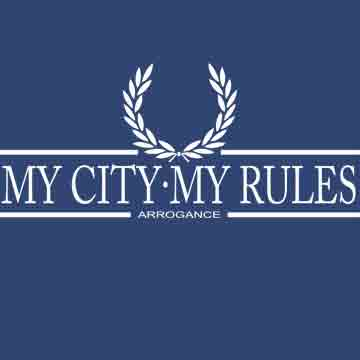 T-SHIRT (NAVY LAUREL ARROGANCE (MY CITY MY RULES)