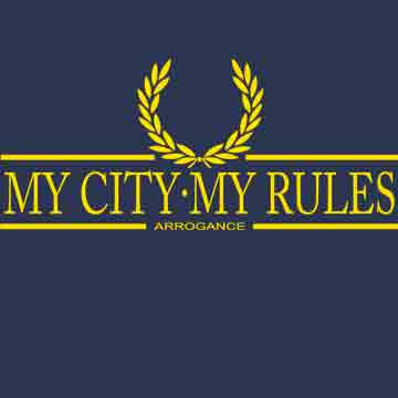 T-SHIRT (NAVY/YELLOW LAUREL ARROGANCE (MY CITY MY RULES)