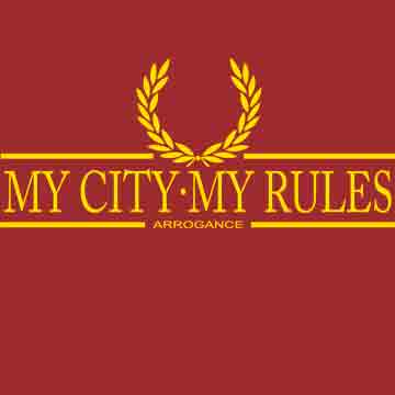 T-SHIRT (BURGUNDY/YELLOW LAUREL ARROGANCE (MY CITY MY RULES)