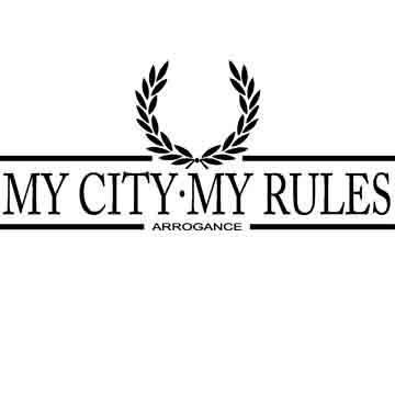 T-SHIRT (WHITE LAUREL ARROGANCE (MY CITY MY RULES)