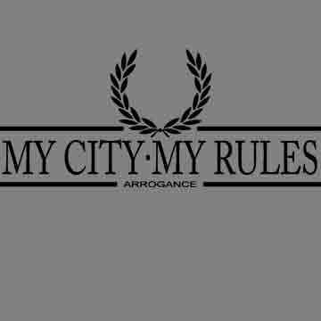 T-SHIRT (GREY LAUREL ARROGANCE (MY CITY MY RULES)