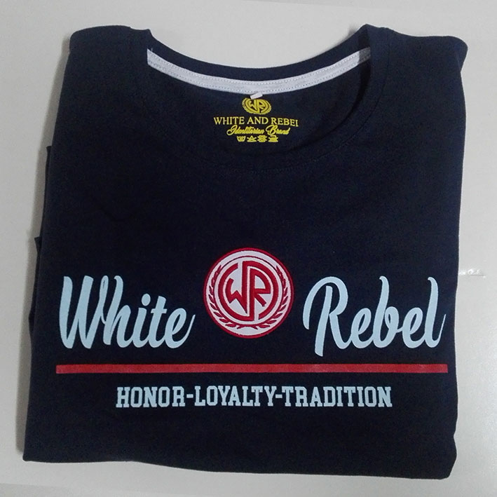 CAMISETA CHICA WHITE and REBEL LOGO BORDADO AZUL (HLT)