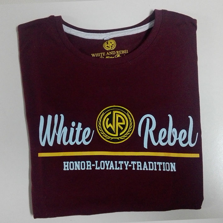 CAMISETA CHICA WHITE and REBEL LOGO BORDADO BURDEOS (HLT)
