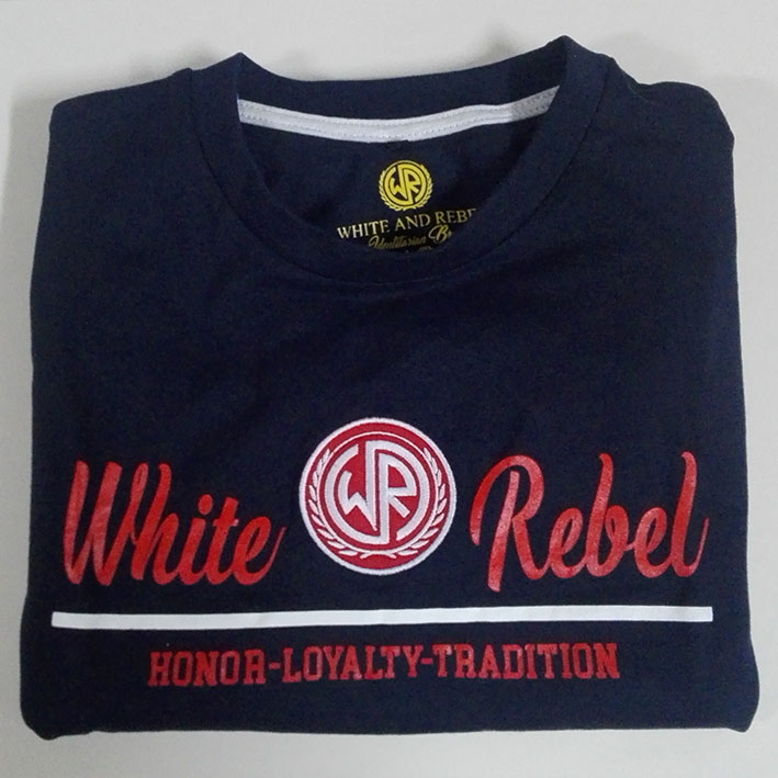 CAMISETA WHITE and REBEL LOGO BORDADO AZUL (HLT)