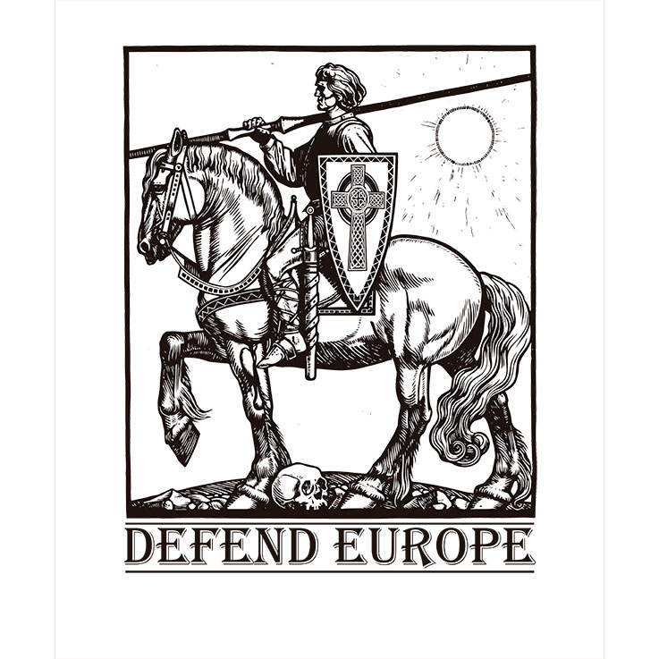 T-SHIRT (WHITE DEFEND EUROPE -KNIGHT)