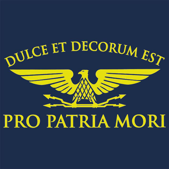 T-SHIRT (NAVY / DULCE ET DECORUM -YELLOW-)