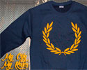SUDADERA AZUL LAUREL (MY CITY MY RULES) LOGO AMARILLO