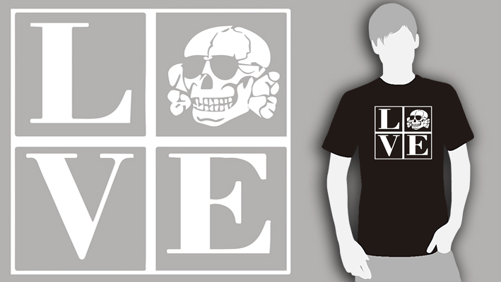 T-SHIRT (BLACK-LOVE/TOTENKOPF)