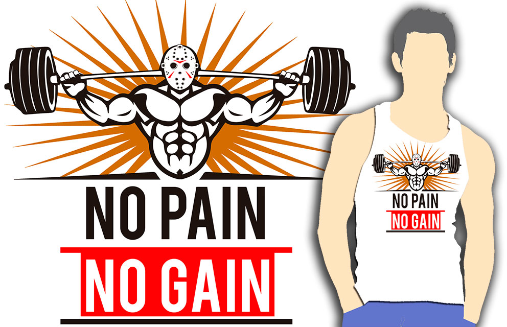 T-SHIRT WHITE TRAINING (NO PAIN NO GAIN)