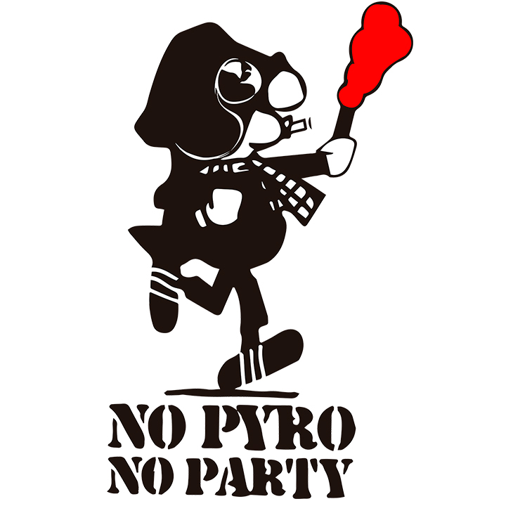 CAMISETA BLANCA NO PYRO NO PARTY -ANDY-