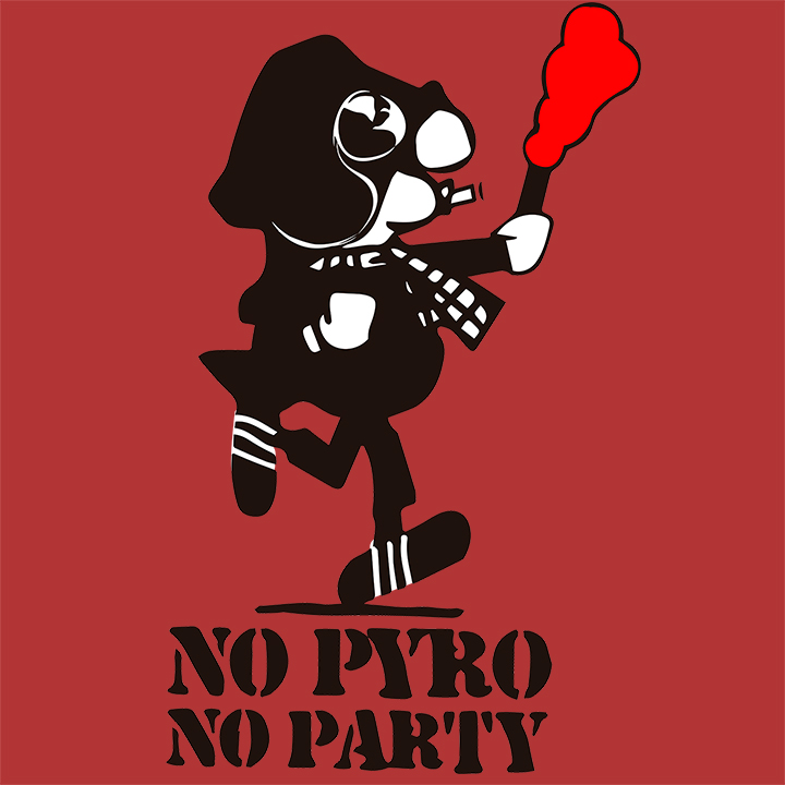 CAMISETA BURDEOS NO PYRO NO PARTY -ANDY-
