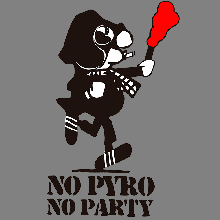 CAMISETA GRIS NO PYRO NO PARTY -ANDY-