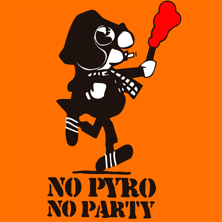 CAMISETA NARANJA NO PYRO NO PARTY -ANDY-