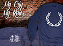 SUDADERA AZUL LAUREL (MY CITY MY RULES)