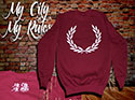 SUDADERA BURDEOS LAUREL (MY CITY MY RULES)