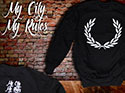 SUDADERA NEGRA LAUREL (MY CITY MY RULES)