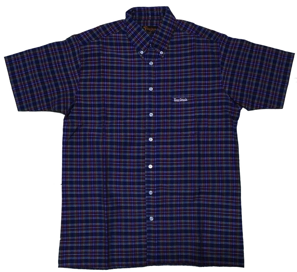 SHIRT THREE-STROKE (NAVY TARTAN)