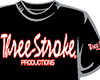 CAMISETA Three-Stroke NEGRA (BLANCO / ROJO)