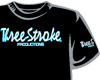 CAMISETA Three-Stroke NEGRA (BLANCO / CELESTE)