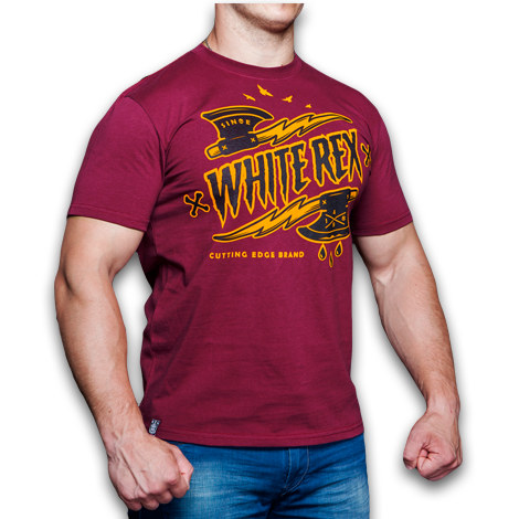 T-SHIRT WHITE REX BURGUNDY (ТОПОРЫ)