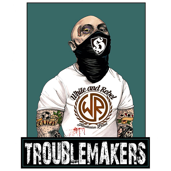 T-SHIRT WHITE&REBEL -TROUBLEMAKERS- (WHITE)