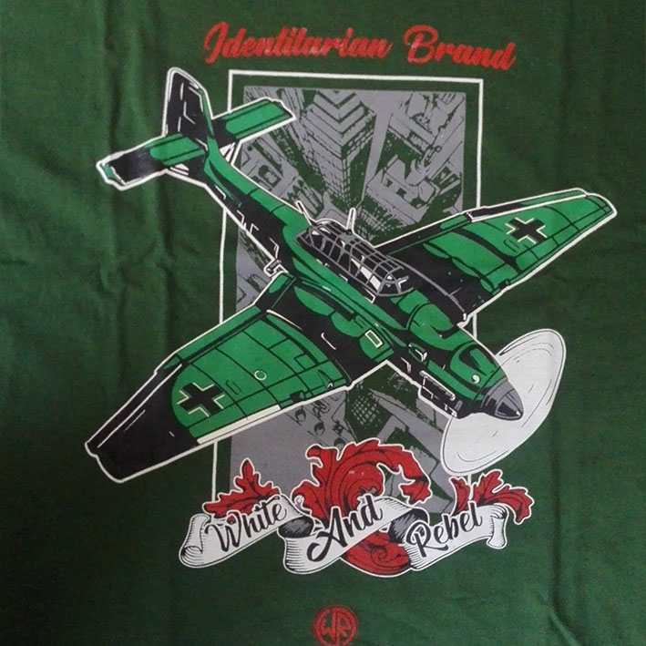 CAMISETA WHITE and REBEL STUKA -GREEN-