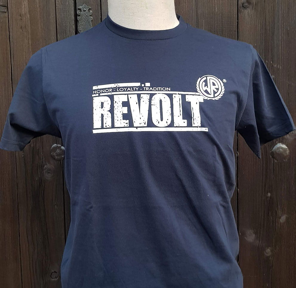 T-SHIRT WHITE&REBEL -REVOLT- (NAVY)